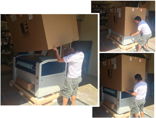 Our  new laser engraver cutter being unboxed!