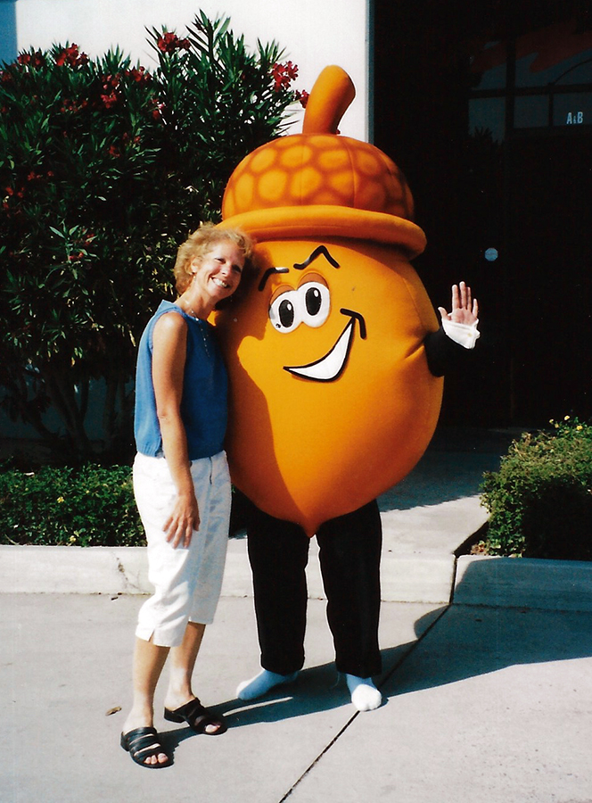 "Tracey and ""Lucky"", Golden Acorn's mascot."